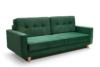 GUSTINA Skandynawska sofa 3 osobowa z funkcją spania zielona ciemny zielony - zdjęcie 1