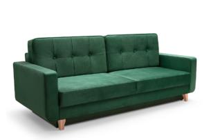 GUSTINA, https://konsimo.pl/kolekcja/gustina/ Skandynawska sofa 3 osobowa z funkcją spania zielona ciemny zielony - zdjęcie