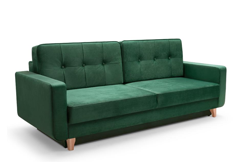 GUSTINA Skandynawska sofa 3 osobowa z funkcją spania zielona ciemny zielony - zdjęcie 0