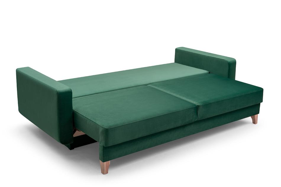 GUSTINA Skandynawska sofa 3 osobowa z funkcją spania zielona ciemny zielony - zdjęcie 2