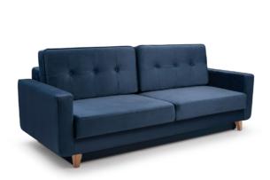 GUSTINA, https://konsimo.pl/kolekcja/gustina/ Skandynawska sofa 3 osobowa z funkcją spania granatowa granatowy - zdjęcie