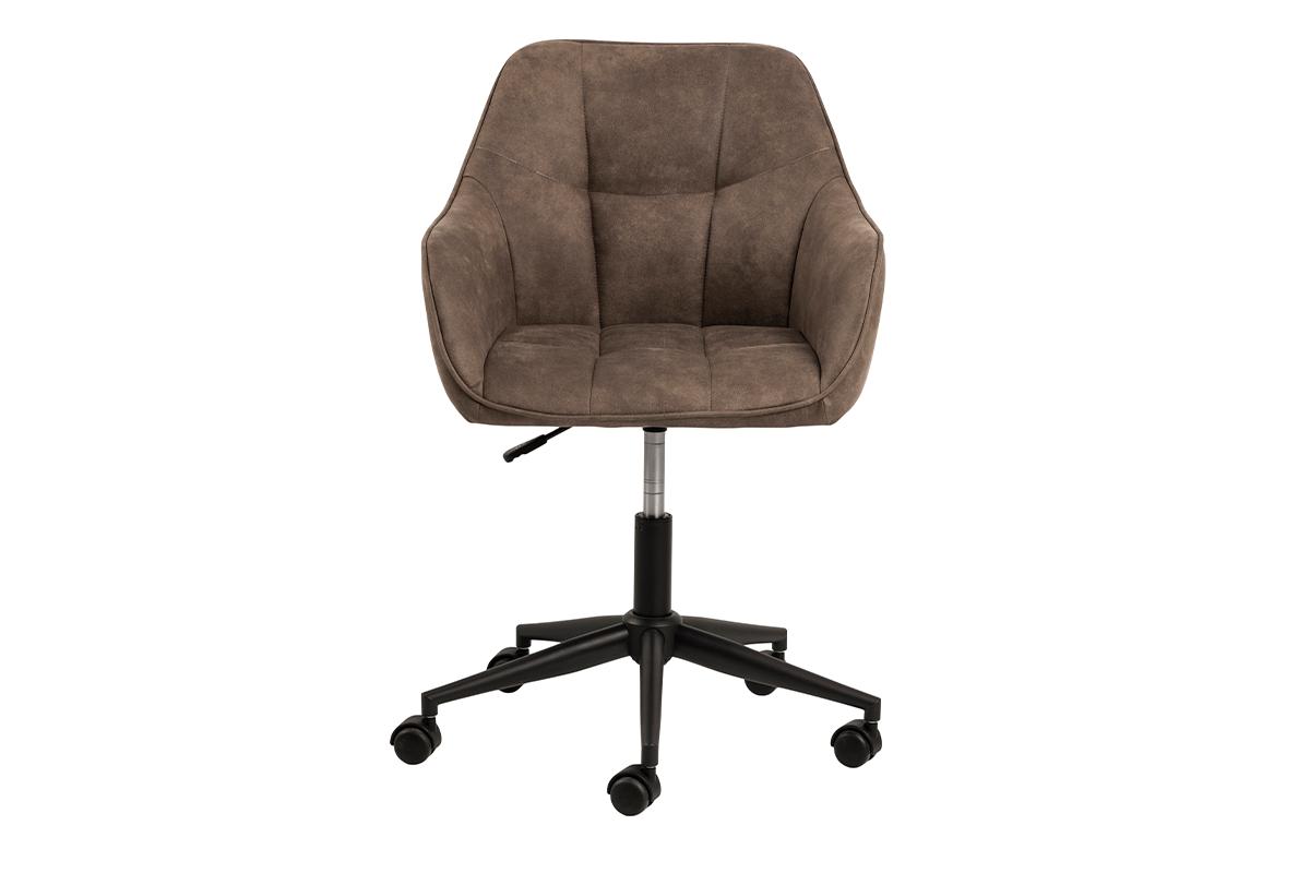 Krzesło kubełkowe obrotowe welurowe brązowe