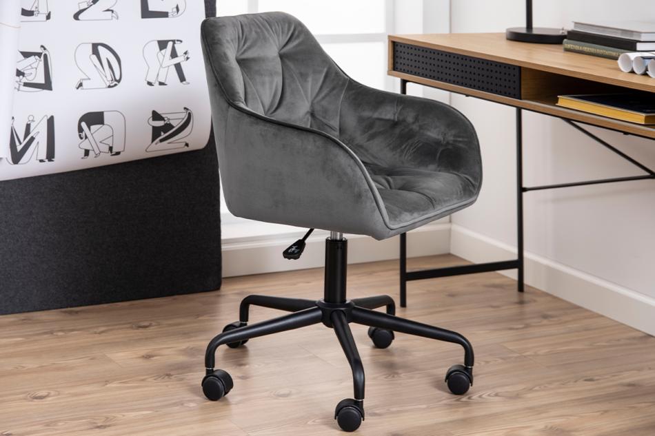 VERTIO Krzesło kubełkowe obrotowe welurowe ciemno szary szary - zdjęcie 9