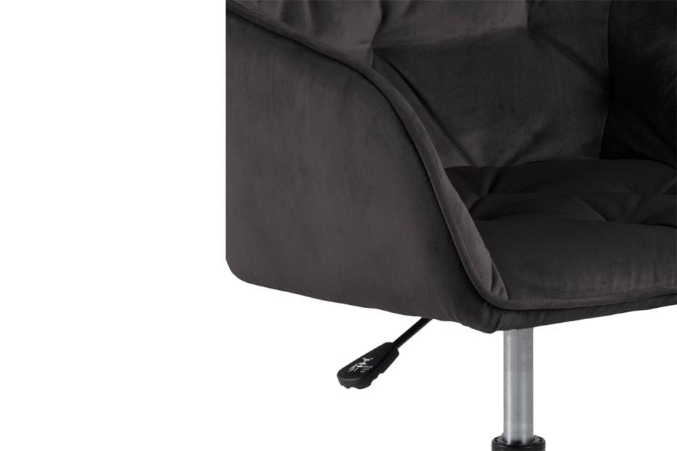 VERTIO Krzesło kubełkowe obrotowe welurowe ciemno szary grafitowy - zdjęcie 5