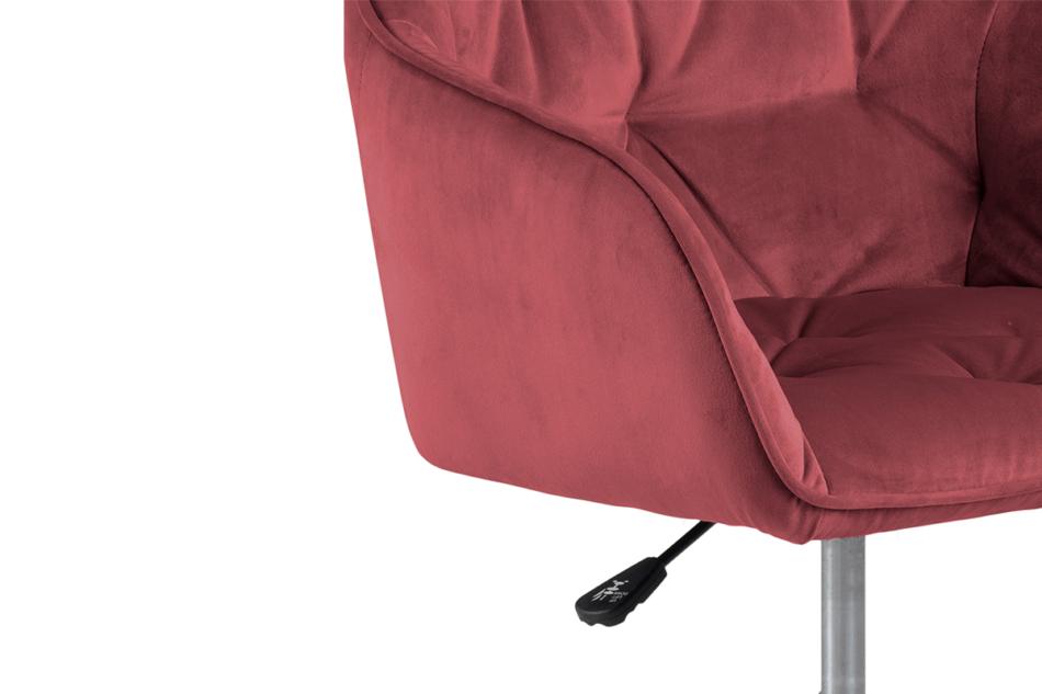 VERTIO Krzesło kubełkowe obrotowe welurowe ciemno różowe koralowy - zdjęcie 6