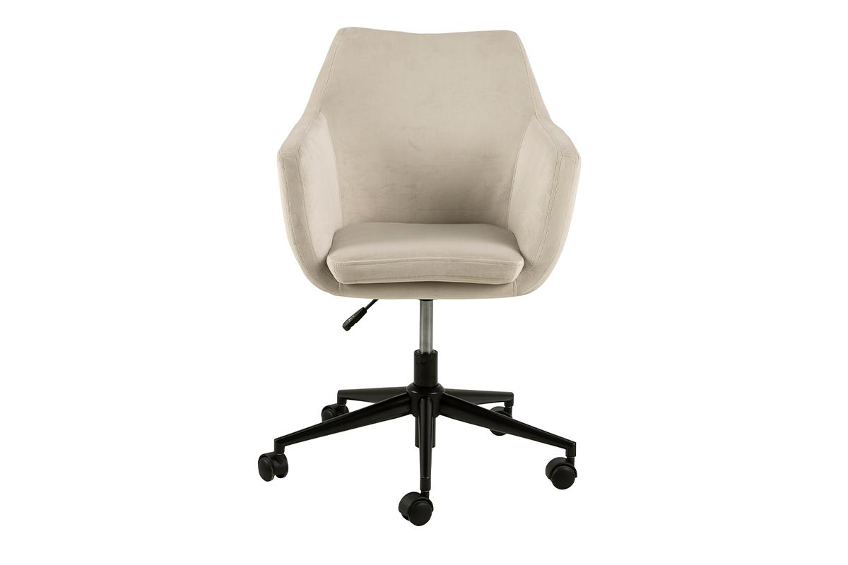 Fotel obrotowy welurowy biały