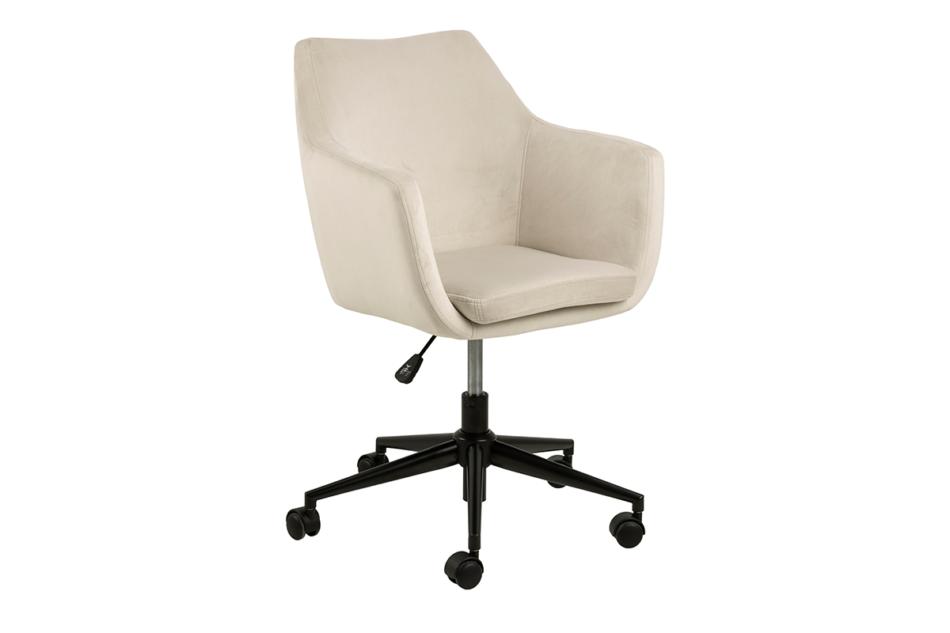 NOLO Fotel obrotowy welurowy biały kremowy - zdjęcie 2