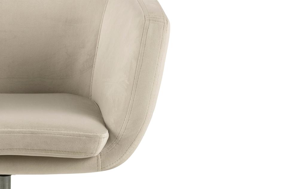 NOLO Fotel obrotowy welurowy biały kremowy - zdjęcie 5