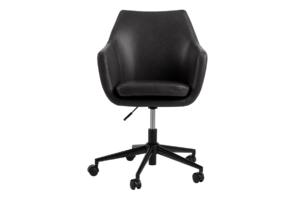 NOLO, https://konsimo.pl/kolekcja/nolo/ Fotel obrotowy ekoskóra czarny czarny - zdjęcie