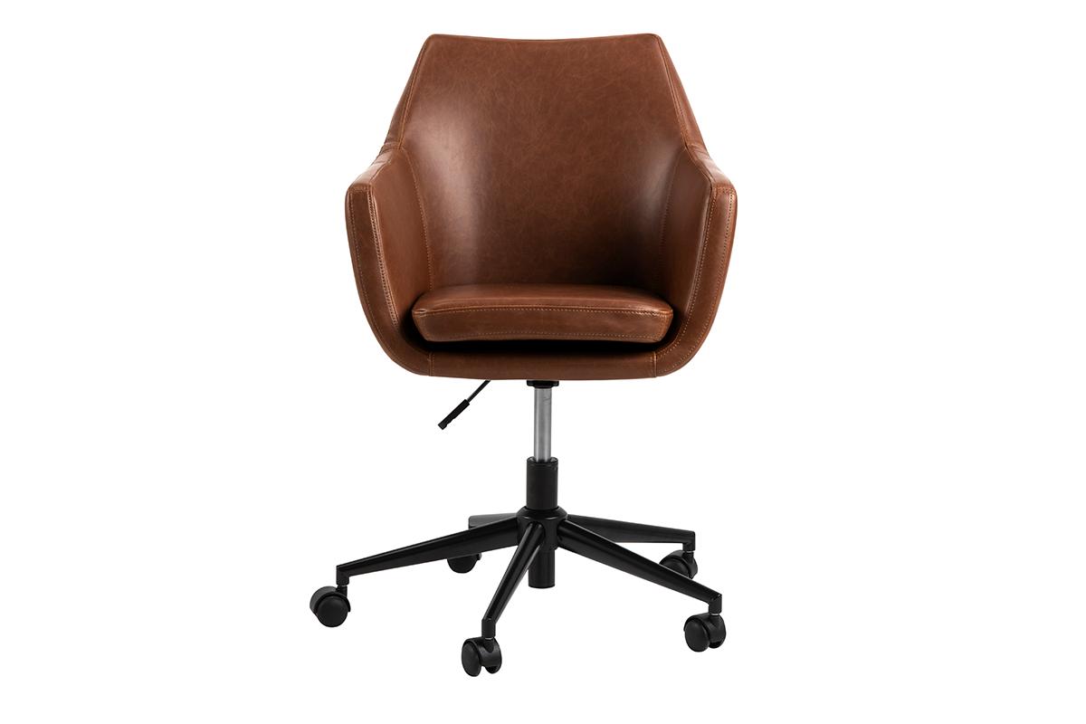 Fotel obrotowy ekoskóra brązowy
