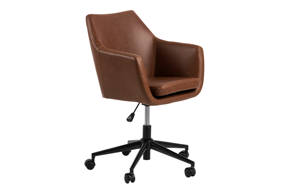 NOLO Fotel obrotowy ekoskóra brązowy brązowy - zdjęcie 2
