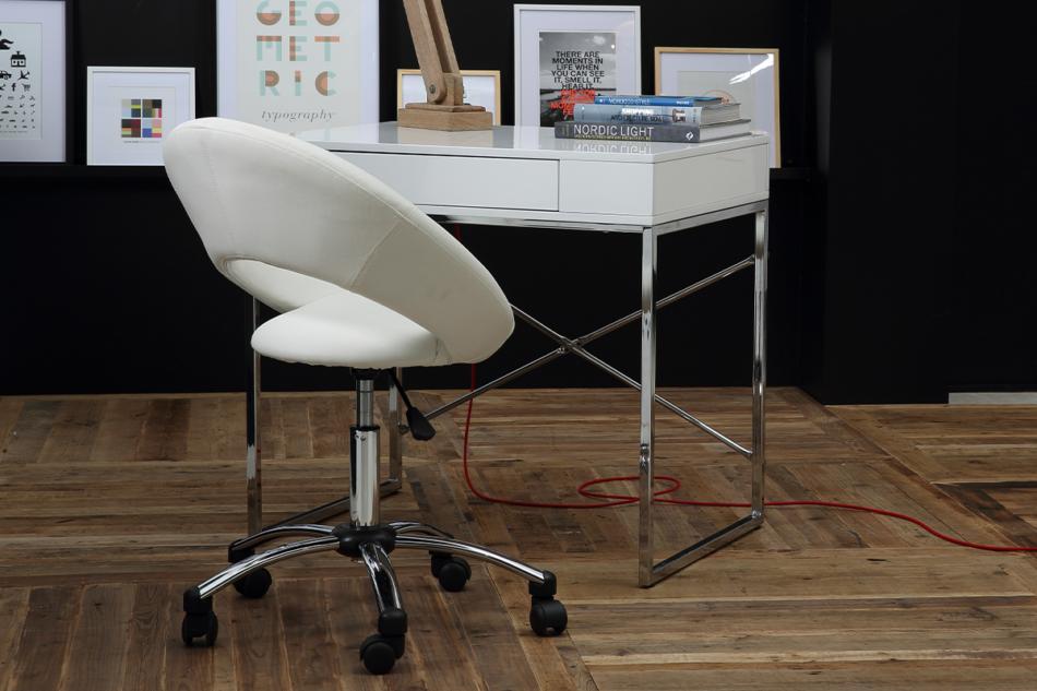 ORBI Krzesło barowe obrotowe białe biały - zdjęcie 1