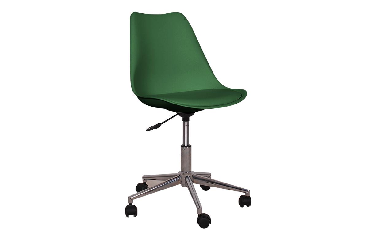 Skandynawskie krzesło obrotowe butelkowa zieleń