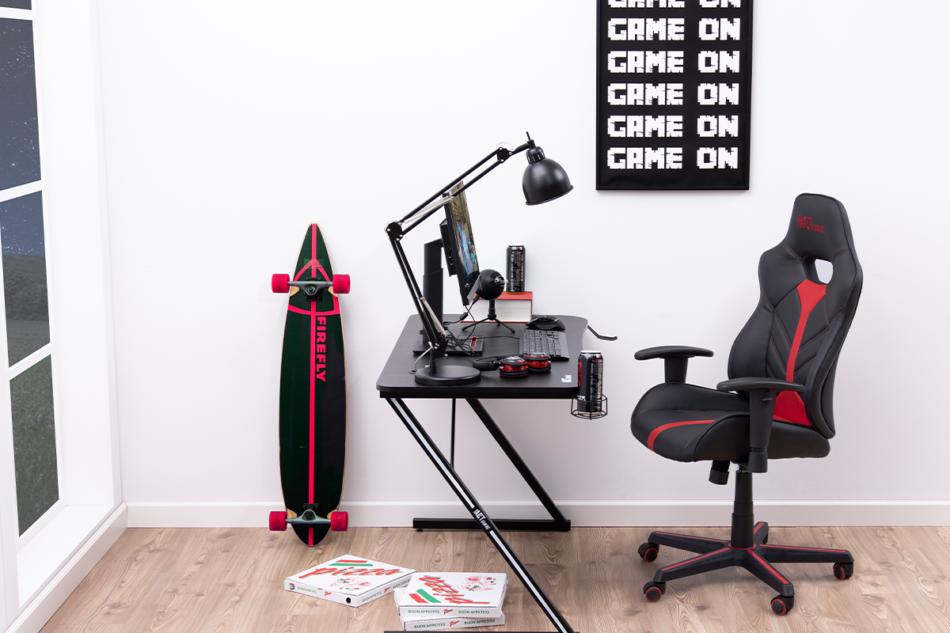 DARCO Krzesło gamingowe czerwień czarny/czarwony - zdjęcie 1