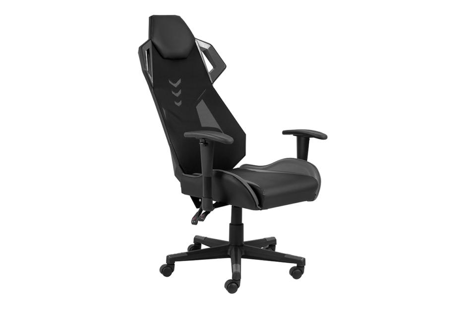 BAGRO Nowoczesne krzesło gamingowe czarne czarny/szary - zdjęcie 3