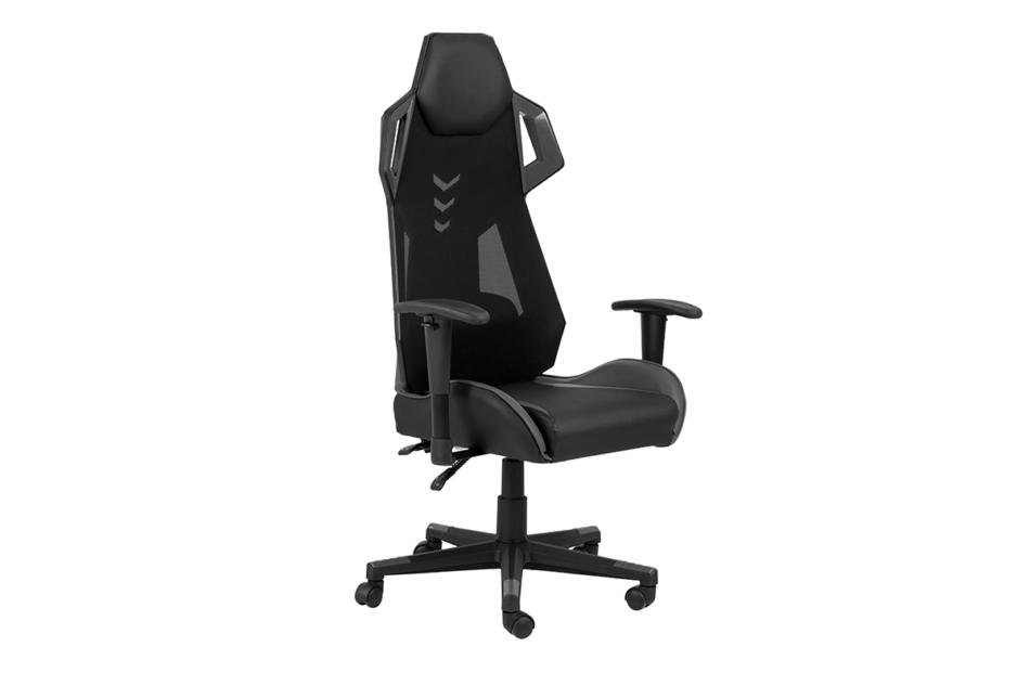 BAGRO Nowoczesne krzesło gamingowe czarne czarny/szary - zdjęcie 1