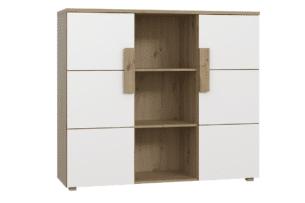 ARKINA, https://konsimo.pl/kolekcja/arkina/ Komoda z półkami do salonu dąb artisan/biały - zdjęcie