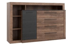 BELLEVUE, https://konsimo.pl/kolekcja/bellevue/ Komoda z szufladami i półkami dąb szlachetny/czarny - zdjęcie