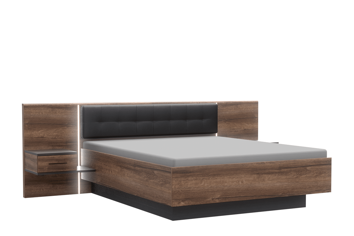 Łóżko z zagłowkiem tapicerowanym