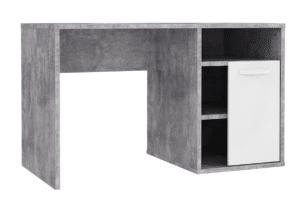 CANMORE, https://konsimo.pl/kolekcja/canmore/ Biurko z szufladami i półkami szary/biały - zdjęcie