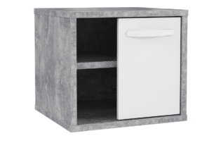 CANMORE, https://konsimo.pl/kolekcja/canmore/ Mały stolik nocny z półkami szary/biały - zdjęcie