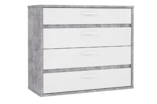 CANMORE, https://konsimo.pl/kolekcja/canmore/ komoda z 4 szufladami szary/biały - zdjęcie