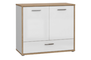 CHICORY, https://konsimo.pl/kolekcja/chicory/ Komoda z szufladami i półkami biały/dąb naturalny - zdjęcie