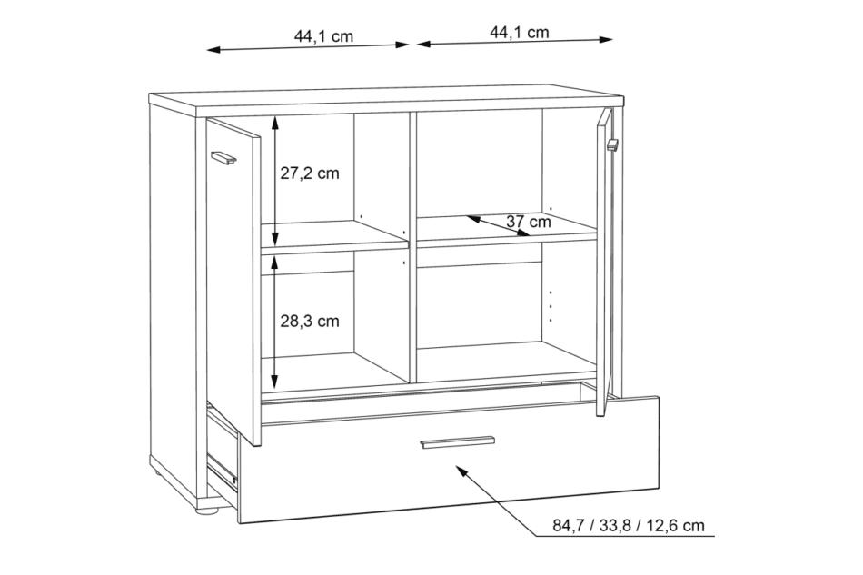 CHICORY Komoda z szufladami i półkami biały/dąb naturalny - zdjęcie 6