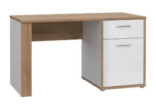 CHICORY, https://konsimo.pl/kolekcja/chicory/ Designerskie biurko z szufladą biały/dąb naturalny - zdjęcie
