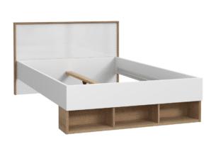 CHICORY, https://konsimo.pl/kolekcja/chicory/ Łóżko z półkami do sypialni biały/dąb naturalny - zdjęcie