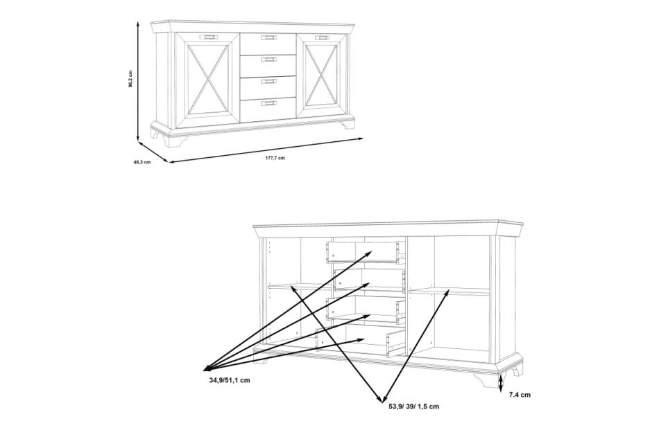 KASHMIR Komoda rustykalna do sypialni ciemny szary/biały - zdjęcie 11