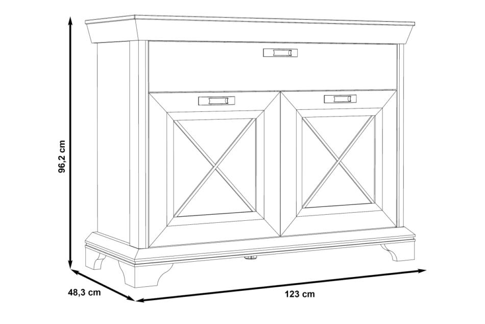 KASHMIR Komoda z szufladą rustykalna szary/biały/różowy - zdjęcie 6