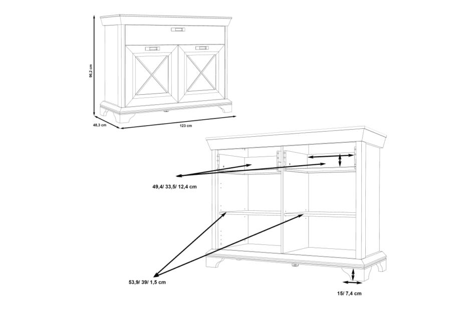 KASHMIR Komoda z szufladą rustykalna szary/biały/różowy - zdjęcie 7