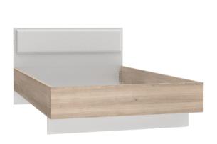 KOLAZA, https://konsimo.pl/kolekcja/kolaza/ Rama łóżka 120x200 z pojemnikiem szary/biały/różowy - zdjęcie