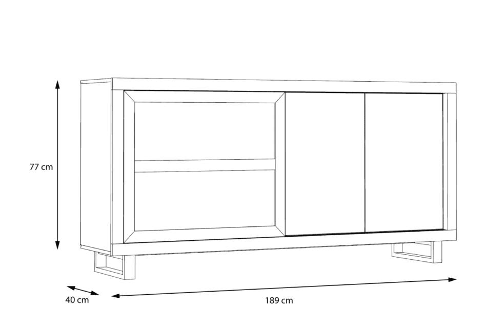 SUPRIE Komoda z witryną do pokoju dziennego biały/ciemny dąb - zdjęcie 6