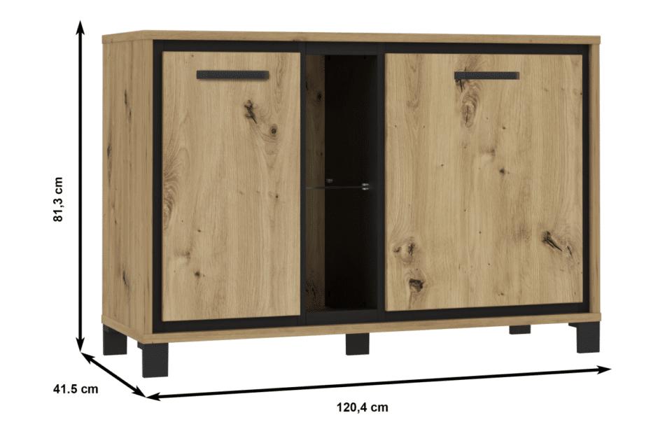 TRONDHEIM Komoda minimalistyczna do sypialni dąb sonoma/szary - zdjęcie 5