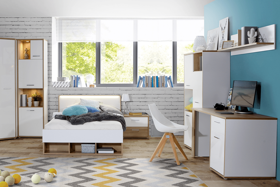 CHICORY Komoda z szufladami i półkami biały/dąb naturalny - zdjęcie 1