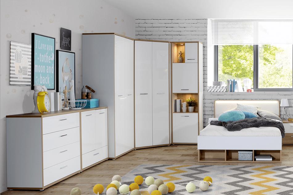 CHICORY Komoda z szufladami i półkami biały/dąb naturalny - zdjęcie 4