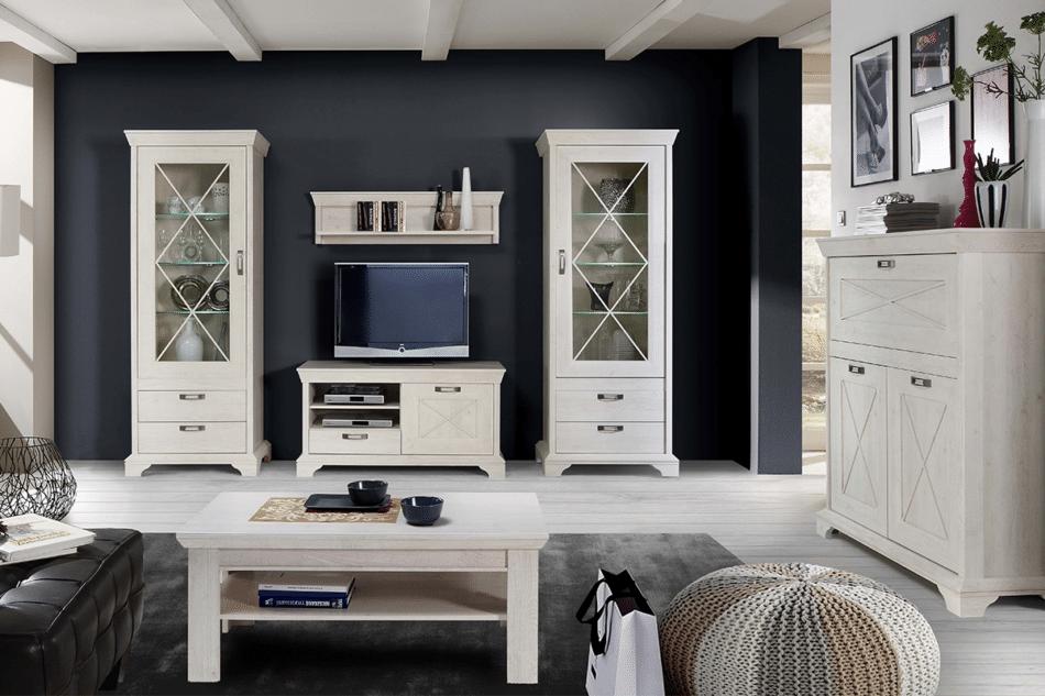 KASHMIR Komoda w stylu rustykalnym ciemny szary/biały - zdjęcie 1