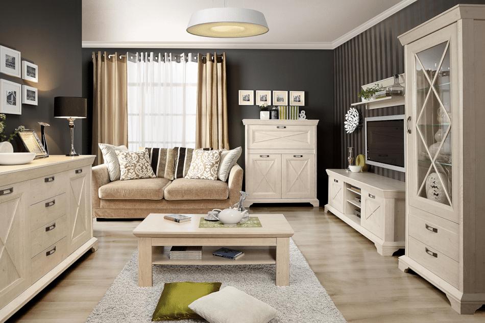 KASHMIR Komoda rustykalna do sypialni ciemny szary/biały - zdjęcie 4