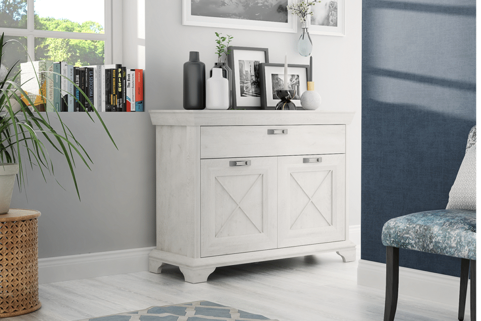 KASHMIR Komoda z szufladą rustykalna szary/biały/różowy - zdjęcie 1