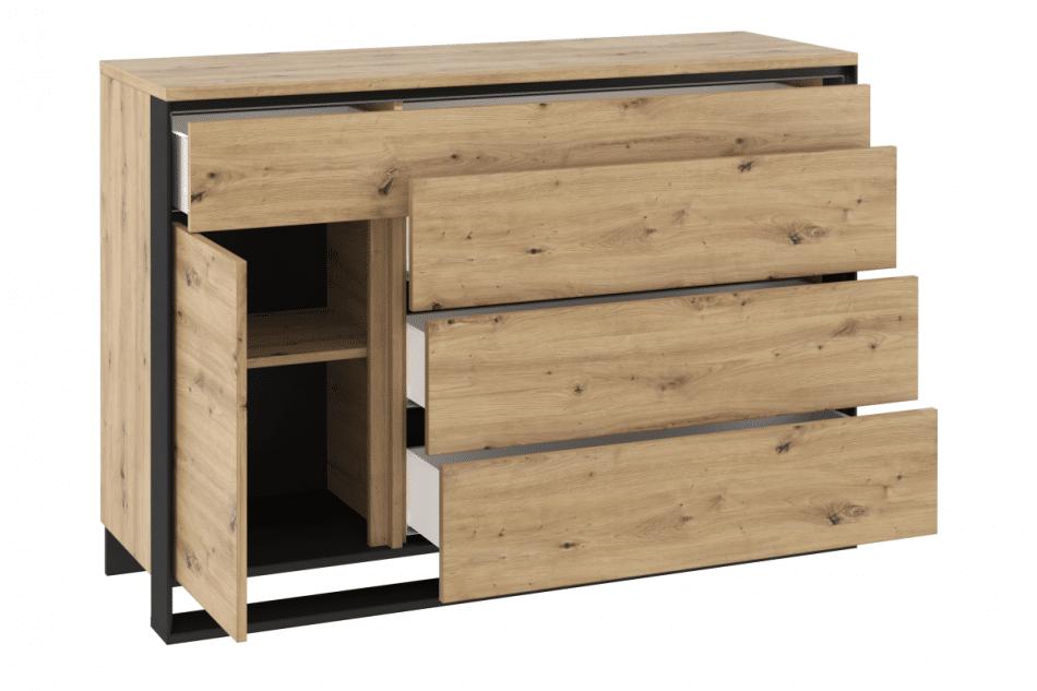 HURICO Komoda z półkami loft dąb artisan/czarny - zdjęcie 2