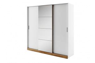 CALIBO, https://konsimo.pl/kolekcja/calibo/ Szafa przesuwna do sypialni z lustrem biały/dąb stirling - zdjęcie