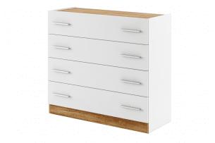 CALIBO, https://konsimo.pl/kolekcja/calibo/ Komoda do sypialni z szufladami biały/dąb stirling - zdjęcie