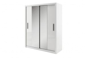 TIVO, https://konsimo.pl/kolekcja/tivo/ Szafa przesuwna z lustrem z półkami i drążkiem biała biały - zdjęcie