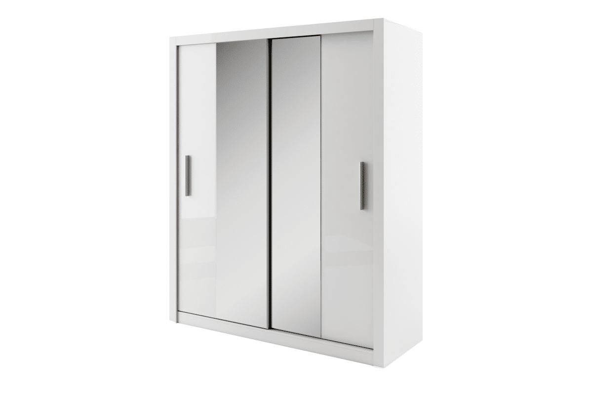 Szafa przesuwna z lustrem z półkami i drążkiem biała