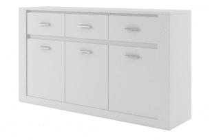 TIVO, https://konsimo.pl/kolekcja/tivo/ Duża komooda z półkami do sypialni biała biały - zdjęcie