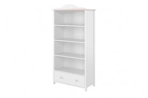 GIGLU, https://konsimo.pl/kolekcja/giglu/ Regał z szufladą na nóżkach dla dziewczynki biały biały/różowy - zdjęcie