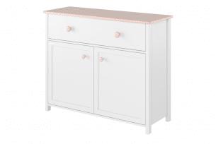 GIGLU, https://konsimo.pl/kolekcja/giglu/ Komoda na ubrania dla dziewczynki biała biały/różowy - zdjęcie