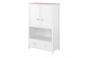 GIGLU, https://konsimo.pl/kolekcja/giglu/ Komoda z półkami dla dziewczynki biała biały/różowy - zdjęcie